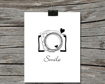 Instant Download - Smile - Camera - Shoot - Poster Wall Art Home Decor Typography