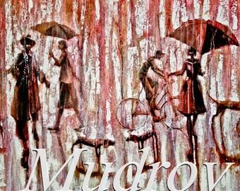 Dog Park.  2009     Oil Painting print on Stretched  canvas Fine Art Print. Painting Umbrellas, rain, dog