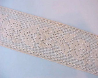 Beautiful Wide Ivory Colored Lace Trim with Rose Motif