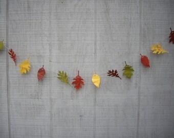 leaf garland, fall garland, 6 ft fall paper leaf garland, fall decoration, fall wedding garland, wedding decoration