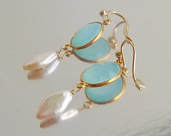 Seafoam Chalcedony Earrings . Pearl Drops