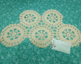 Vintage Ivory hand crochet Granny circle lace doily for housewares, home decor, vases, flowers by MarlenesAttic