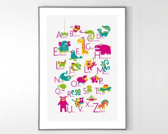 Portuguese Alphabet Poster with animals from A to Z, BIG POSTER 13x19 inches - Baby Children Nursery Custom Wall Print Poster