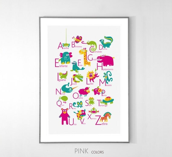 PORTUGUESE Alphabet Poster with animals from A to Z, BIG POSTER 13x19 inches