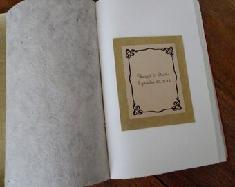 OPTION: Vintage Nameplate, Art Nouveau Frame to Personalize Your Guestbook or Journal