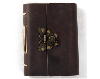 Leather Journal Diary Notebook with Vintage Butterfly Lock A6 Blank Lined Craft Paper Handmade Small with Gift Box
