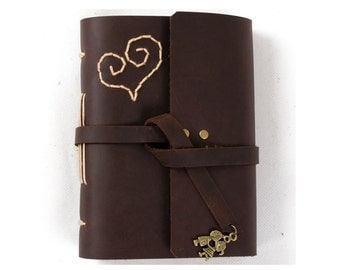 Unique Leather Journal Diary Notebook with Lovely Heart and Sweet Kiss Lovers A6 Blank Lined Craft Papers Brown Small with Gift Box