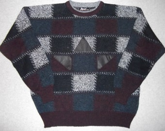 80s 90s Leather Hipster Triangles Sweater Cosby Show Tacky Gaudy Ugly Crazy Christmas Party X-Mas Retro Winter Warm Holiday XL Extra Large