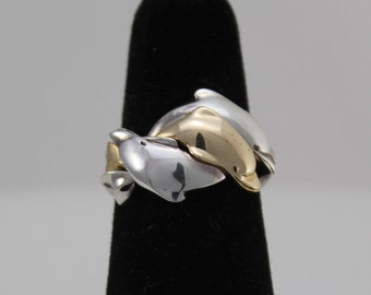 14K & Sterling Silver 3 Dolphin Puzzle Ring sizes 4, 4.5, 5, 6, 7