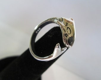 Sterling Silver SMALL ORCA RING, orca Jewelry, Whale Jewelry, Adjustable, Nautical Jewelry, Sea Life Jewelry, orca