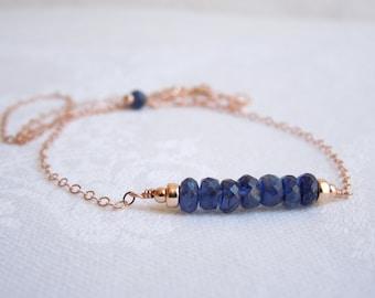 Delicate Gemstone  Necklace- 14K Rose Gold Filled- Deep Blue Kyanite- Layered Necklace