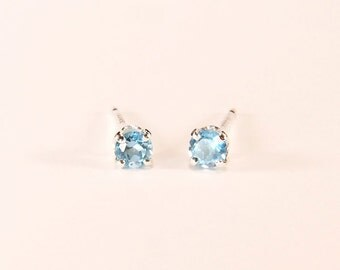 Tiny 'Swiss Blue' Topaz, 0.15 Carat x 3mm, Round Cut, Sterling Silver Post Earrings