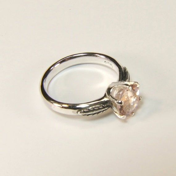 Pink Emerald (Genuine), 1.95 carats x 8mm, Round Cut, Handmade Sterling Silver Ring