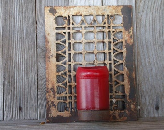 Cast Iron Vent Grate  Candle Holder Old Rusty