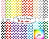 Polka Dot Stash Digital Scrapbook Paper for Commerical Use, 22 Popular Colors Instant Download
