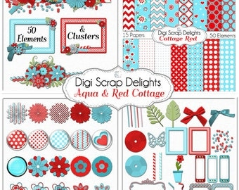 Aqua & Red Cottage Digital Scrapbook Kit, 15 Papers, 50 Images w Clusters for Card Making, Phone Covers, Web Design, Instant Downloa