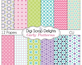 Girly Digital Papers Pink, Purple, Blue, Green for Scrapbooking, Card Making, Photo Backgrounds, Instant Download