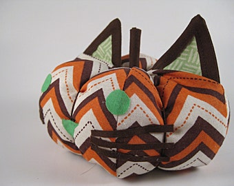 Orange and Brown Fabric Cat Pumpkin Decoration with Chevrons