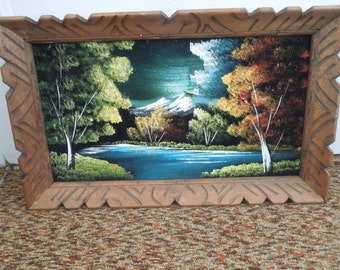 Retro Velvet Painting in Wood Frame Scenic Mountain Landscape