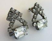Vintage Rhinestone Earrings - Pierced Rhinestone Earrings - Bridal - Prom - Evening - Womens Accessories