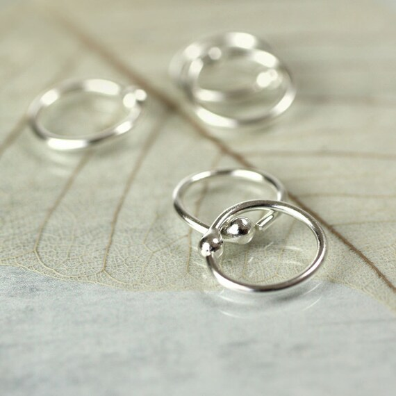 9 mm Hoop Earrings with Ball End - Argentium Sterling Silver Sleepers in Pairs