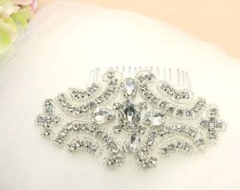 Vintage Rhombus Rhinestone Crystals Wedding Bridal Dress Sash/Comb/ribbon headband