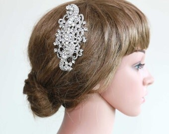 "4.5"" Large Vintage Style Crystal Rhinestone Glass Wedding Bridal Dress Brooch Sash/ Hair Comb BRH00507"