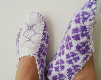 Purple and White ethnic knit slippers ,authentic regional slippers,  slippers,Home slippers - OOAK-Cyber Monday