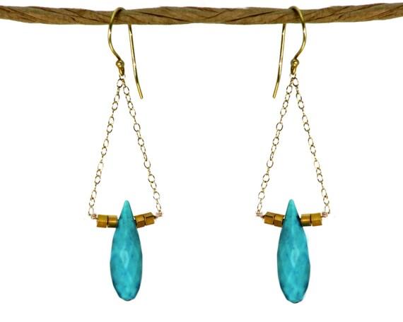 Turquoise teardrop earrings. Triangle Earrings. Chandelier Earrings. with 22k gold vermeil
