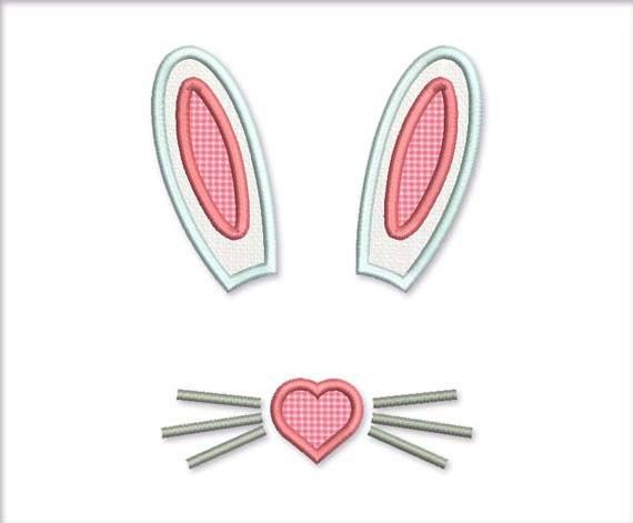 Bunny Ears Pink Heart T Shirt Babies Decor Applique Embroidery Design