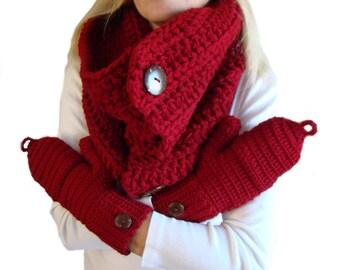 Convertible Fingerless Mittens Button Cowl Scarf Set Cranberry Red Crochet, Winter Scarf Set, Cowl Mitten Set, Winter Mitten Set