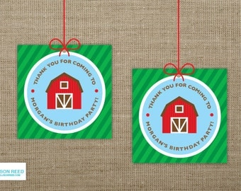 Farm Birthday - Farm Favor Tags - Farm Printable - Barnyard Printable - First Birthday - Petting Zoo Birthday - Farm Animals Birthday - Barn