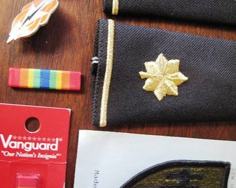 Supplies, Army, Major, Epaulettes, Pins, Patch, Ribbons, Lot, Military, Insignia, Gold, Black