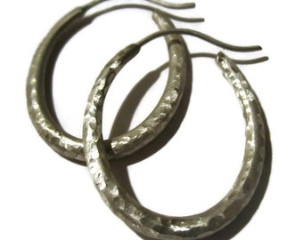 Hammered Hoop Earrings, Large Geometric, Silver Oval Hoops, Large Hoops, Artisan Handmade  by Sheri Beryl