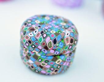 Klimt Inspired Mini-design Pill Jar - upcycled Polymer Clay