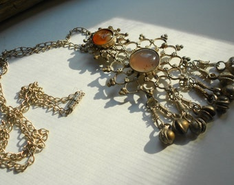 "Vintage tribal silver necklace, persian nomadic ethnic amulet, ""bells"" & polished stones, middle eastern, Turkish"