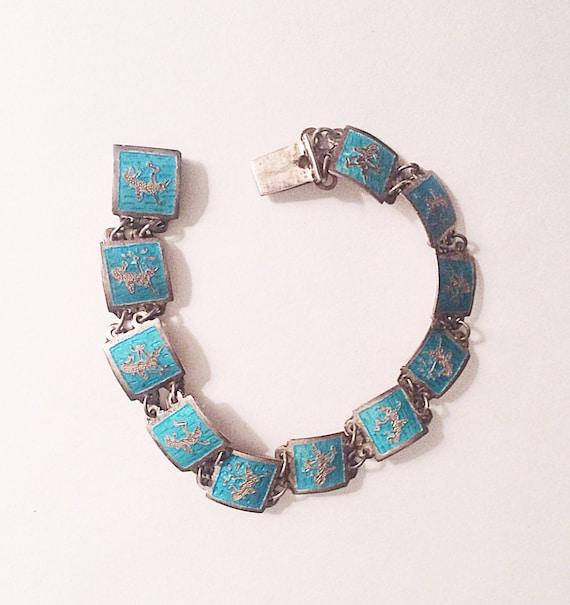 siam sterling bracelet niello ware turquoise enamel by