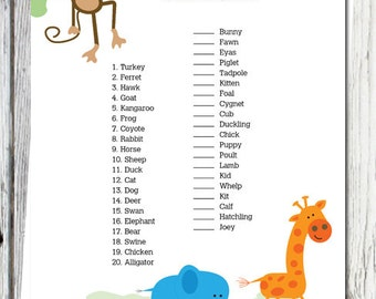 Safari Baby Shower Game: Baby Animal Match, Jungle Theme, Over 100 Games available, Printable Digital INSTANT DOWNLOAD