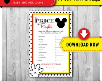 Mickey Mouse Baby Shower Game, Mickey Mouse Price is Right Game, Baby Shower Games Boy Printable