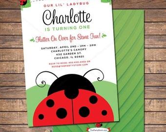 Ladybug Invitation / Printable Red Ladybug Invite / 1st Birthday Ladybug Invitations / Girls Birthday Party Invites