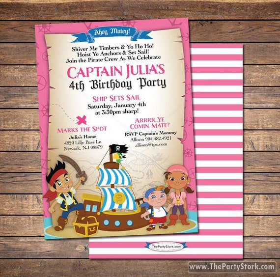 Jake and the Neverland Pirates Invitations Printable Girls Pirate – Free Printable Pirate Birthday Party Invitations