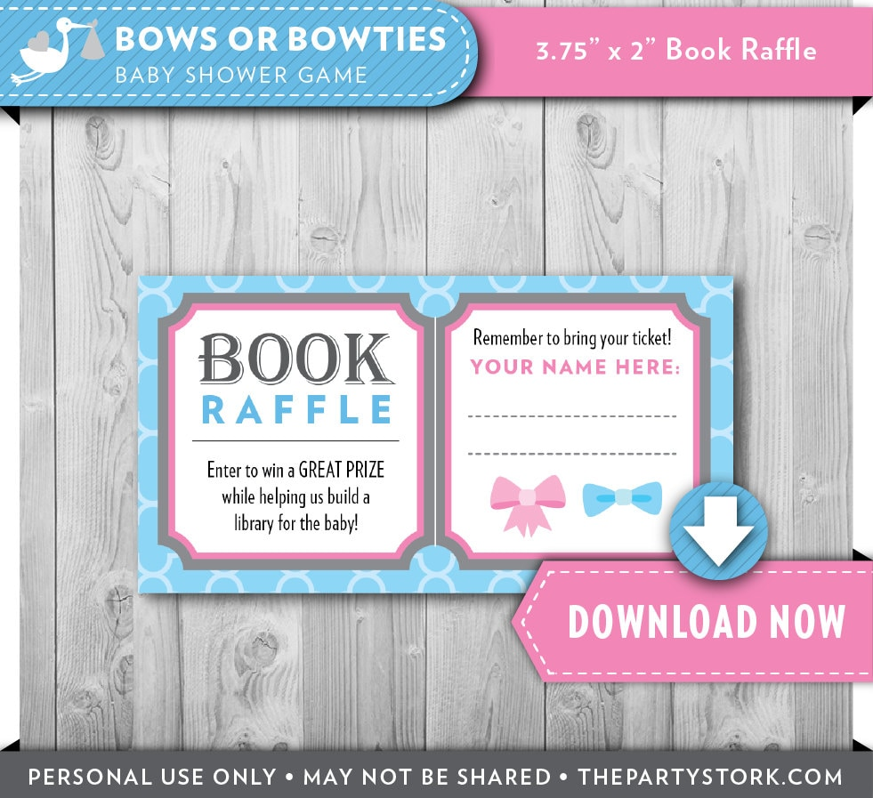 baby shower game booklet template - gender reveal party or baby baby shower bring a book raffle