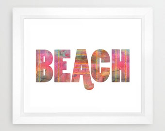 BEACH typography Art Print, beach, Ocean by SchatziBrown