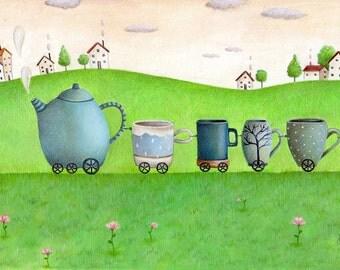 Tea Time Train, Art Print, Watercolor Print, Whimsical Art, Nursery Decor, Kid's Bedroom Art, Baby Gift, Cute Art, Teapot and Cups
