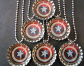 Captain America  /   Bottle Cap Party favors (6) / add more for 2 dollars each