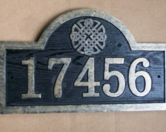 Carved Address Sign Raised Numbers and Celtic Knot Design Antique Brass Finished Wood