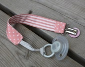 Universal Pacifier Clip Pink Dots with Stripes / Sophie Leash / Pacifier Holder / Blanket Clips