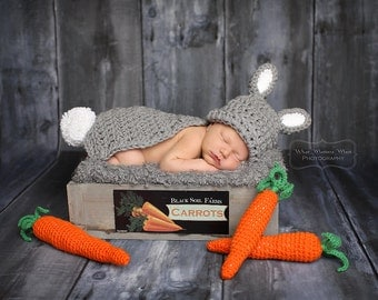 Baby Bunny Photo Prop- Crochet Hat, Topper/Cape Set -Newborn to 3 months  and 3- 6 Mos.