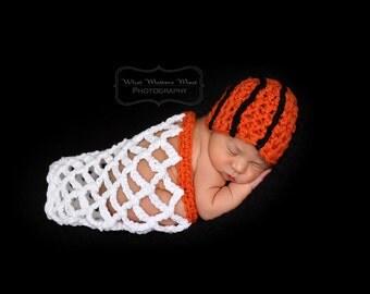 Basketball Beanie & Net - Crocheted Newborn Photography Prop- Ready to Ship