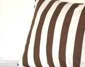 Brown Stripes Throw Pillow Cover - Optional Zipper - 18x18 or 20x20 inch Decorative Toss Cushion Cover - Taupe Brown Canopy Striped